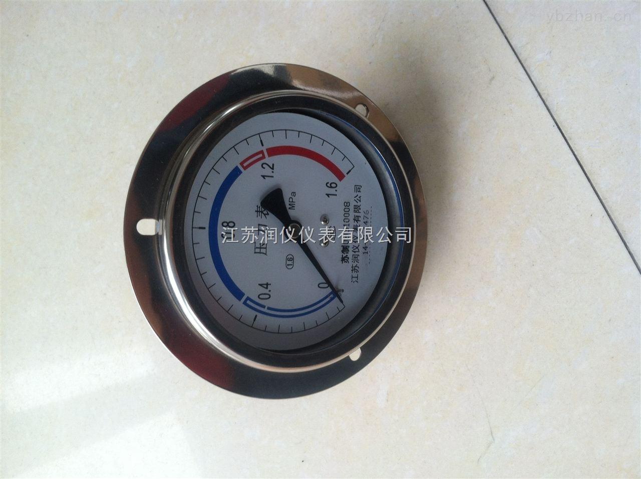 YB-100ZT-盤裝軸向帶邊不銹鋼壓力表