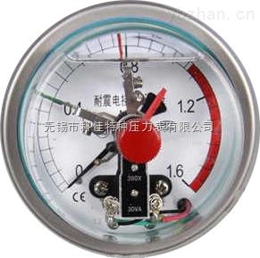 轴向带边不锈钢耐振电接点压力表