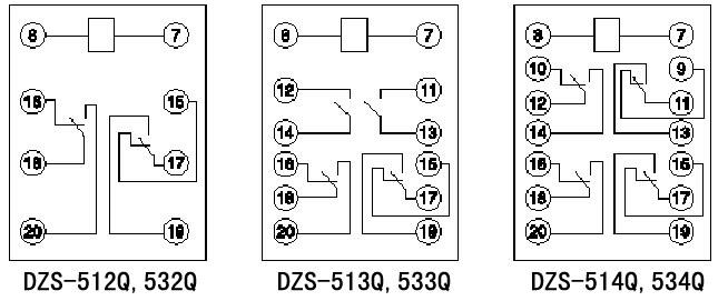 dzs-500系列中间继电器内部接线图