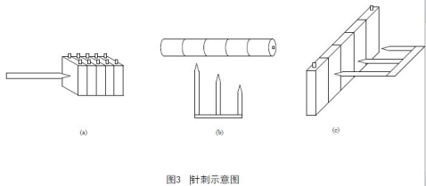 的速度,从垂直于蓄电池极板的方向,依次贯穿至少3个单体蓄电池(钢针